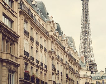 Paris Photography, Eiffel Tower Print, French Decor, Paris Wall Decor, Beige Wall Art, Eiffel Tower Photo - High Society