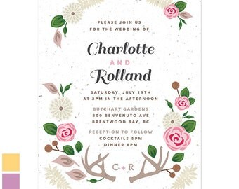 Attractive 25 Floral Woodland Plantable Wedding Invitations