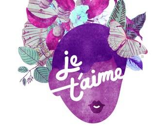 Je T'amie Typography Print, (Violet Botanical French Valentine Art) 5x7, 8x10, 11x14