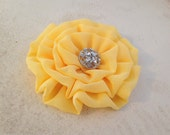 Yellow Flower Hair Clip.Pin.Brooch.Lemon Chiffon.Bridesmaid headpiece.Sunny yellow.hair accessory.Lemon Yellow flower.Yellow Headpiece.md