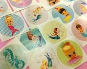 Cute Vintage MERMAID Stickers Set