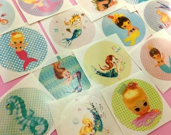 Cute Vintage MERMAID Stickers Set