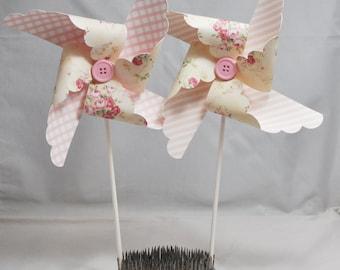 Cream Floral Pinwheel- Girl 1st Birthday