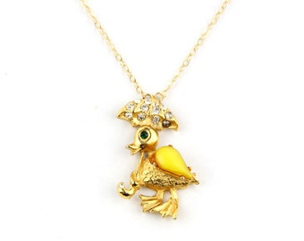 Ducky - Vintage Rhinestone Duck With Umbrella Pin Necklace