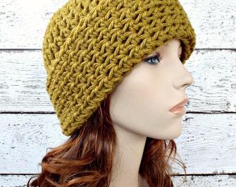Crochet Hat Green Womens Hat - Wide Cuff Beanie Hat in Moss Green Beanie - Green Hat Green Beanie Womens Accessories Winter Hat