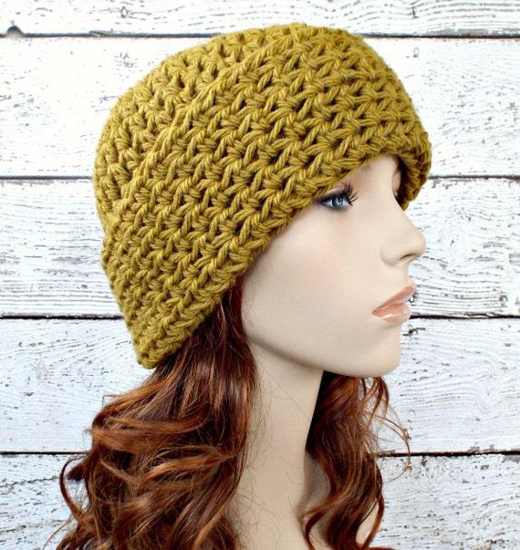 Crochet Hat Green Womens Hat Wide Cuff Beanie Hat in Moss