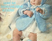 Crochet Patterns Baby Snowflake Layette Hat Booties Afghan Jacket Leisure Arts 59 Vintage Paper Original NOT a PDF