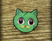 Zombie Cat Brooch Pin - Laser Acrylic