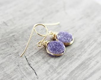 Purple Druzy Earrings, Druzy Quartz Earrings, Violet Druzy Earrings, Druzy Gemstone Earrings, Gold Fill Earrings, Wire Wrap Earrings, Dangle