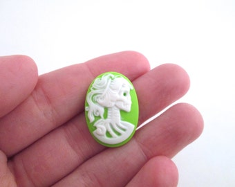 8 18x25mm green skeleton cameos, Lolita Day Of The Dead goddess cabochons
