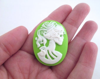30x40mm lime green skeleton cameo cabochons, Lolita Day Of The Dead goddess cabs