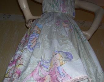 Miss Piggy Sundress Burlesque Vegas with Kermit Muppet Geek Vintage Fabric Dress Mom Party Sundress Maternity Pink Biege Lilac Adult L-2XL