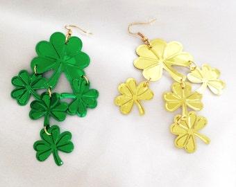 Green Shamrock Earrings  Gold Shamrock Earrings Long St Patricks Day Earrings