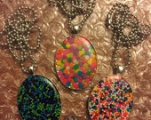 Summer Candy Fun - 30X40mm Resin REAL Sprinkle Necklace
