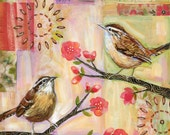 Wrens in Spring #1 6x6 inch print on wood