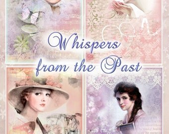 Whispers from the Past Collection of 4 Collages and BONUS Tags Cottage Chic Instant Download Digital Printable
