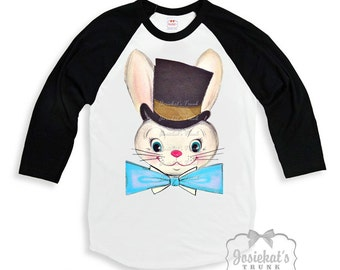 Easter Boy Shirt - Sibling Easter Shirts - Black White Baseball - Top Hat Bunny Shirt - Brother Sister Shirt - Easter Custom Size Retro