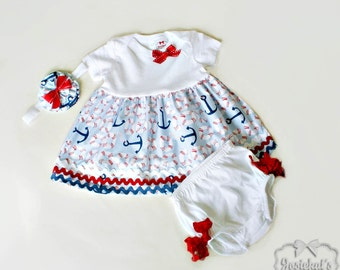 July 4th Baby Outfit - Nautical Infant Outfit - Sailor Baby Set - Anchor Dress Bloomers - Newborn to 4T Red Blue Toddler - Headband Match