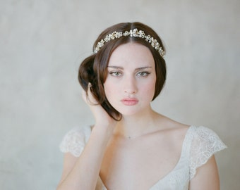 Vintage inspired bridal headband, gold and pearl - Art deco and loops hair vine - Style 527 - Ready to Ship