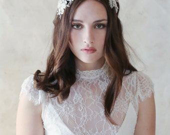Bridal floral headband - Embroidered 3D flower and crystal headband - Style 553 - Ready to Ship