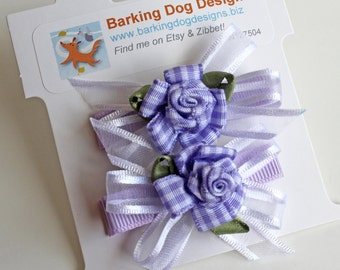 Lavender Hairbow. Baby Hair Clip With Non-Slip Grips. Girls Hair Accessory Set of 2. Toddlers Hairclips. Purple Check Rose. Clip With Flower