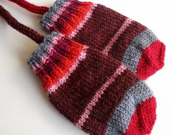 Knit Baby Mittens. Thumbless Wool Infant Mittens On a String. 6 to 9 Months. Winter Hand Warmers. Mini Mitts. Knit Baby Gloves. Red and Gray