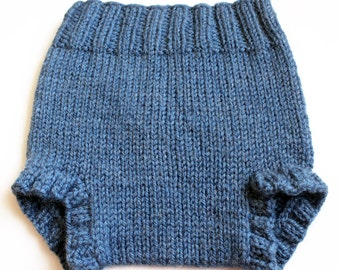 Knit Wool Soaker. Small Slate Blue Diaper Cover. 16 Inch Rise. Boys Cloth Diaper Covering. Knitted Pull-On Shorties. Lanolized Ready to Wear