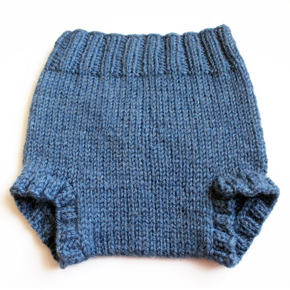 Knitting Pattern For Wool Soakers : Knit Wool Soaker. Small Slate Blue Diaper Cover. 16 Inch Rise.