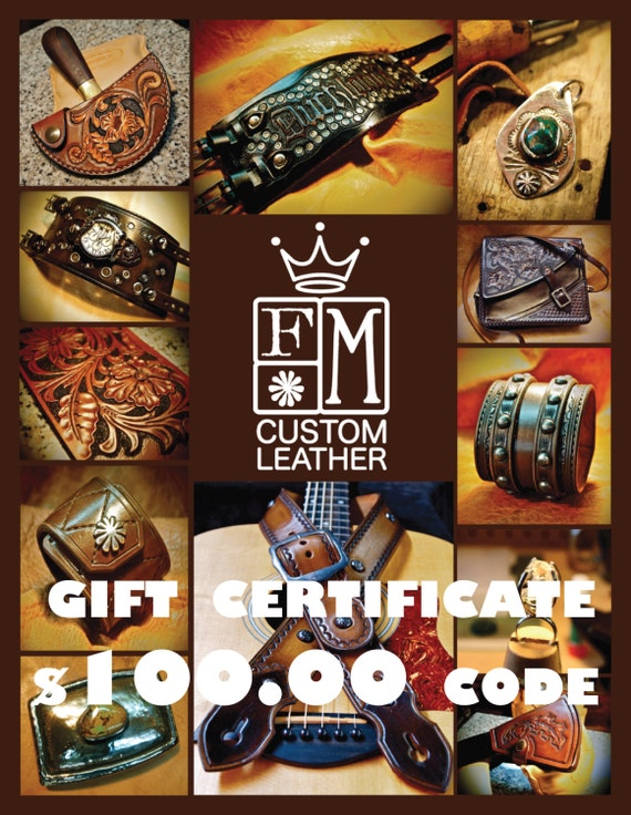 Gift Certificate - 100 Dollars - leather cuff bracelet watch belt guitar strap- Let them choose! Mataradesign by Freddie Matara