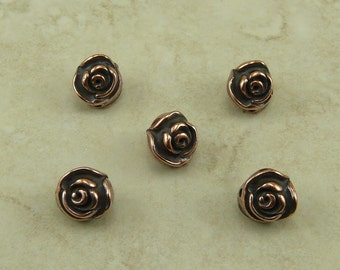 5 TierraCast Rose Flower Beads > Floral Garden Bride Bridal Wedding Spring - Copper Plated Lead Free Pewter - I ship Internationally 5611