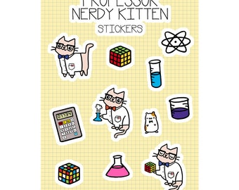 Kawaii Sticker Sheet Cute Cat Stickers Science Cat Science Stickers Nerdy Cat Science Gift Super Cute
