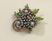 Vintage Brooch, Pin, Enamel over Metal, 1960s, Blue, Green, Faux Pearl, Floral, Flowers