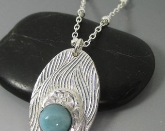 Larimar Fine Silver Floral Layered Pendant Sterling Silver Necklace