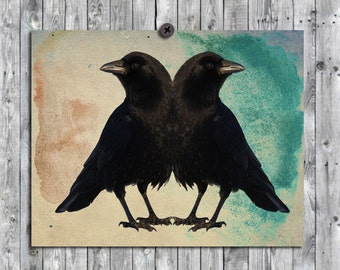 Crows Abstract Wall Art, Raven Decor, Blackbird Image, Birds Collage, Nature, Animal, Double Birds  - Twin Beaks