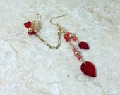 Red Gold Leaf Chain Ear Cuff Earring