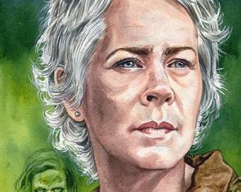 Original Watercolor Painting Carol Peletier Walking Dead Portrait 8.5 x 11 inches