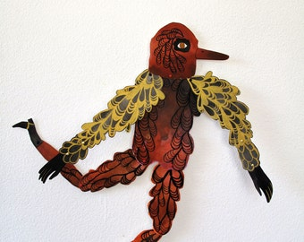 Orange Birdman DIY or constructed Paper Doll Articulated / Hinged Beasts Series