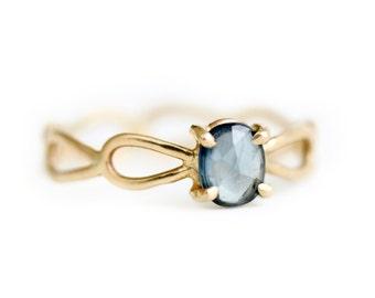 Ceylon Blue Sapphire Ring - Rose Cut Sapphire Ring