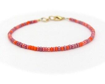 Coral bracelet, seed bead bracelet, beaded bracelet, Orange bracelet, friendship bracelet, Coral Friendship Bracelet, Dainty Bracelet