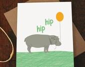 congrats card / hip hip hooray / hippo