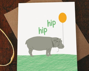 congrats card / hip hip hooray / hippo