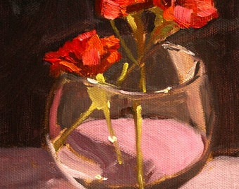 Red Flower Still Life Painting, Original Oil, Canvas, Small 6x8, Carnations, Glass, Valentine, Wall Decor, Floral Art, Kitchen Romance
