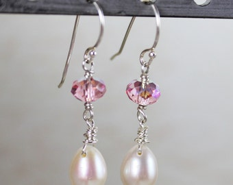 Freshwater Pearl Teardrop with Light Rose Swarovski® Crystal Beaded Earrings
