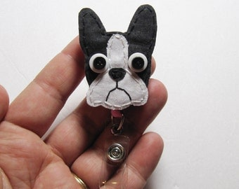 Boston Terrier Badge Reel, Boston Terrier Badge Card Holder,Boston Terrier,Dog,ID Holder,Nursing Name Badge Holder, Badge Reel, Retractable