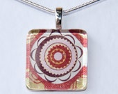 Handmade Glass Tile Red Flower Pendant
