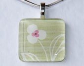 Handmade Glass Tile Green, White & Pink Flower Pendant