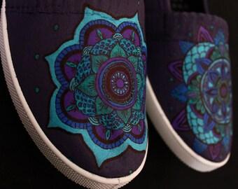 Mandala shoes - shades of blue and purple - women's size 6
