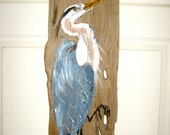 Great Blue Heron Painting on Driftwood #3 by Susan Thau