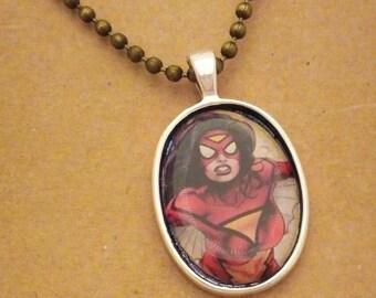 Spiderwoman recycled comic book pendant