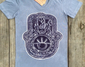 Hamsa Eco Friendly Batik organic cotton t shirt hand of Fatima tops & tees hand dyed women nickel gray hand drawn hand painted yoga clothes